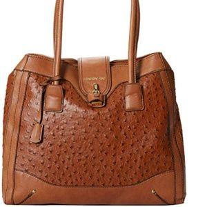London Fog Lark Satchel Top Handle Bag,Amber Ostri